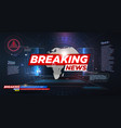 banner breaking news breaking news live on world vector image vector image