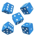 blue dice set icon vector image vector image