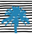 blue palm tree and hand drawn black and white vector image