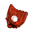 brown baseball glove and ball vector image vector image