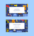 business card template for camping or vector image