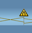 carefully narrow the passage caution - danger vector image vector image