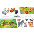 cartoon farm animals concept vector image