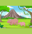 cartoon mother and bahippo in jungle vector image vector image