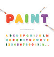cartoon paint font for kids design bright vector image vector image
