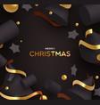 christmas card gold and black holiday ornaments vector image