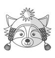 christmas raccoon face cartoon vector image vector image