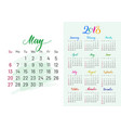 colorful planner 2018 may separately vector image