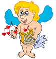 cupid playing harp vector image