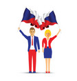 czech republic flag waving man and woman vector image