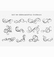 decorative floral swirl ornaments elements set vector image vector image