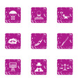 delinquency icons set grunge style vector image