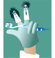 Dental glove puppets vector image