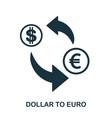 dollar to euro icon mobile app printing web vector image vector image