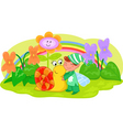Elf with cute snail and flowers vector image
