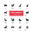 farm animals - line design silhouette icons set vector image