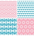 Four abstract pink blue folk motives seamless vector image vector image