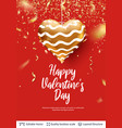 golden heart and greeting text on red vector image vector image