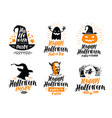 Happy halloween lettering holiday greeting card