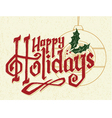 happy holidays christmas logotype vector image
