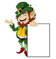 Happy Leprechaun with blank sign for you design vector image