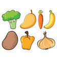 large set fruits and vegetables on white vector image