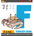 letter f from alphabet with cartoon fiddler crab vector image vector image