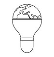 light bulb and planet earth icon outline vector image vector image