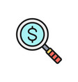 magnify glass with dollar money search vector image vector image