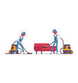 male janitor vacuum cleaning indoors vector image vector image