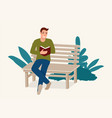 man sitting on wooden bench while concentrated vector image