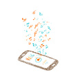 music background with notes and smartphone vector image vector image