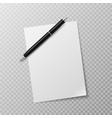 pen and paper sheet blank white paper vector image