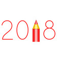 pencil 2018 lettering vector image vector image