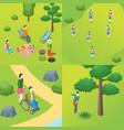 public park concept card poster set vector image vector image
