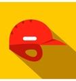 Red baseball helmet flat icon vector image