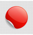 round glossy red sticker with curled corner and vector image