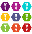 safety belt icon set color hexahedron vector image vector image