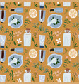 seamless pattern with natural ingredients - branch vector image