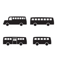 set big bus icons in simple silhouette style vector image vector image