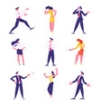 set businesspeople male and female characters vector image vector image