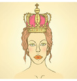 Sketch cute woman in crown vector image vector image