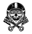 skull in racer helmet and crossed pistons design vector image vector image