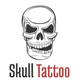 Smirking and scary human skull tattoo with grin vector image vector image