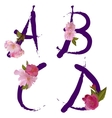 spring alphabet with gentle sakura flowers ABCD vector image vector image