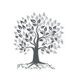 stylized oak tree with roots retro vector image