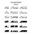 transportation icons set delivery trailers cargo vector image vector image