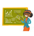 young african teacher standing in front of board vector image vector image