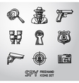 Set of Spy handdrawn icons - fingerprint spy gun vector image