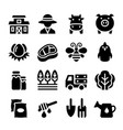 agriculture farm icon set vector image vector image
